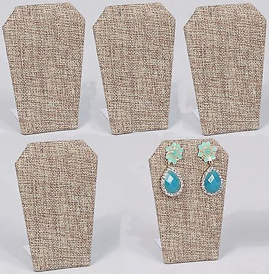 Lot Of 5 Burlap Earring Display Metal Base Pendant Stand Jewelry Display 3 1/4""
