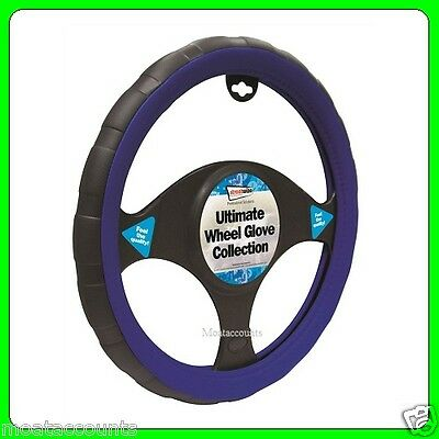 Black & Blue Leather Steering Wheel Cover [SWWG5] Fits 37 - 38 cm Diameter