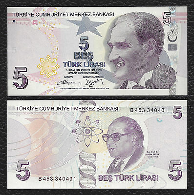 Turkey P-222b ND 5 Lira new color/signature Crisp Uncirculated