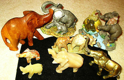 Lot of (8) ELEPHANTS / Wood To Brass / A Gorgeous Assortment / All Are MINT!!!