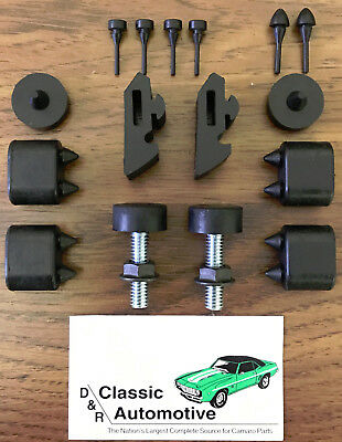 Rubber Stopper Kit + Hood Adjusters Camaro 67 68 69 stoppers bumpers