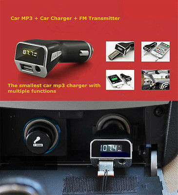 Radio FM Transmitter PLMP2A w/ USB Port for PYLE Charging 3.5mm AUX Input Car