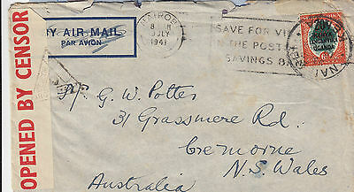 WW1 stamp KUT 6d issue on cover sent 1941 to Australia with censor tape & mark