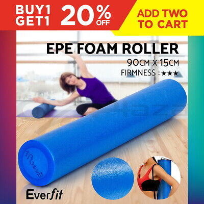 90cm EPE Foam Roller Physio Yoga Pilates Rollers Gym Exercise Back Massage Blue