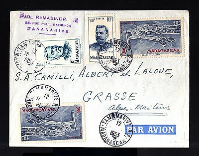 7218-MADAGASCAR-AIRMAIL COVER TANANARIVE to GRASSE (france)1953.Aerien.FRENCH C.