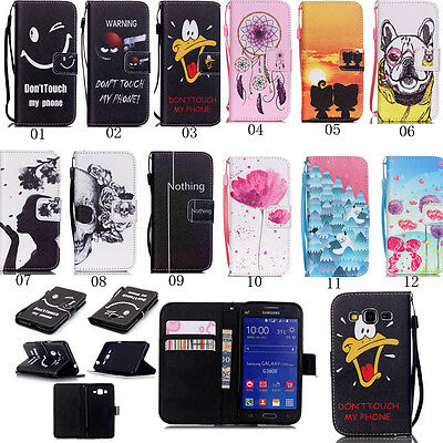 New Folio Flip Leather Stand Card Wallet Cover Case With Strap For Mobile Phones