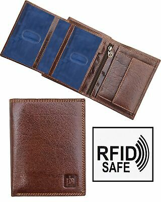 e31bfbfbfd73c Designer Mens Luxury Trifol Brown Leather Wallet by Prime Hide RFID  Blocking NEW