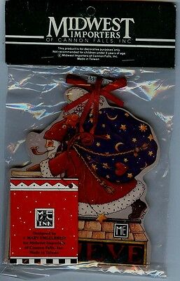 """Mary Engelbreit Santa Pull Toy Ornament new in Mfg Bag 7""""Square"""