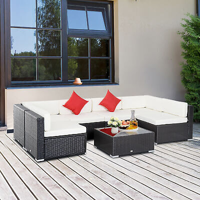 Rattan Furniture Set 7 PCS Sofa Garden Outdoor Patio PE Wicker Cushioned Lawn
