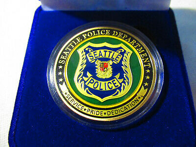 CITY OF SEATTLE Police Dept. Challenge Coin w/ Presentation Box