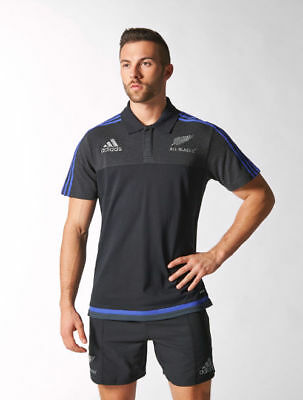 Anthem All Blacks New Zealand Adidas Polo Shirt Men Black 2016 Climalite