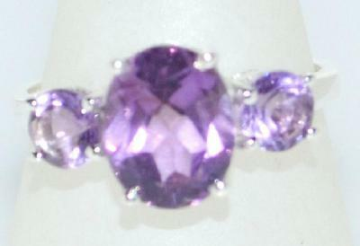 Amethyst Ring Sterling 925 SILVER, 3 Genuine Gems Birthstone, Size L 5½ to V 10½