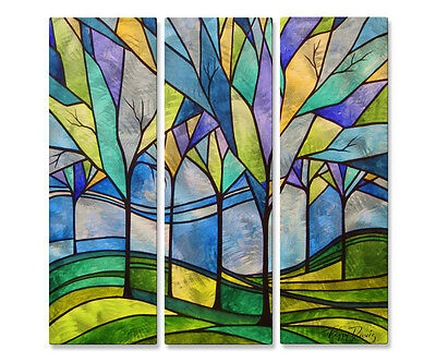 Metal Art Set of 3 Modern Home Decor Abstract Wall Sculpture Stain Glass Trees