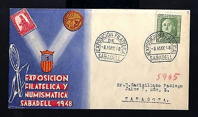 7166-SPAIN-ESPAÑA-COMMEMORATIVE COVER SABADELL to ZARAGOZA.1948.WWII.EXP.Filatel