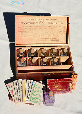 FULL original 1890s TAPESTRY PAINT Co BOX w/set of figural CABIN shape Ink Wells