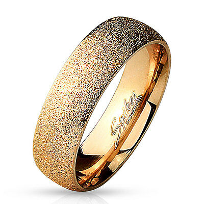 6mm Sand Sparkle Finish Dome Surface Rose Gold IP 316L Stainless Steel Ring