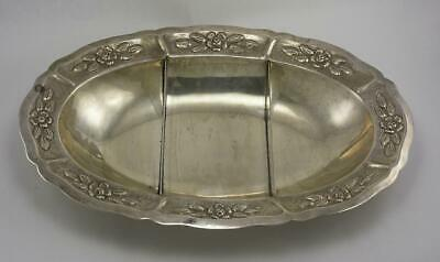 Maciel Large Sterling Silver Three Section Bowl, Floral Design, Hand Hammered