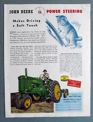 Original 1954 John Deere Tractor Ad POWER STEERING MAKES DRIVING A SOFT TOUCH