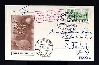 7155-GERMANY-SAAR-SARRE-BALLONPOST CARD BLIESKASTEL to FRANCE.1953.SAARLAND.Holl
