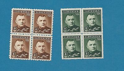 Slovakia 1939 , no. 67-68 complete in Four blocks