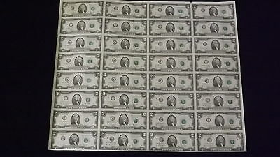 Mint Currency Uncut Sheet 32 x $2 Bill Dollar GEM Federal Reserve Notes