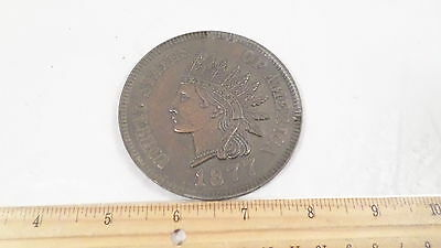 """Vintage Metal 3"""" 1877 Indian Head One Cent Penny"""