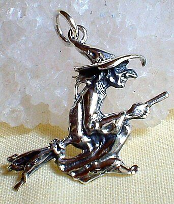 925 Sterling Silver Flying Witch Pendant on Broom Chain~Wiccan Pagan Jewellery