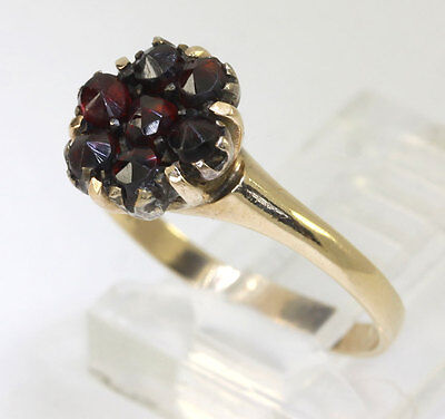 Antique ruby ring yellow gold flower cluster 7 rose cut rounds .70CT size 5 1.9g