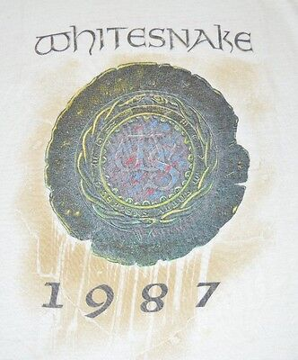 VTG 1987 WHITESNAKE Summer US Tour Concert White T-Shirt Men's XL Size 46-48
