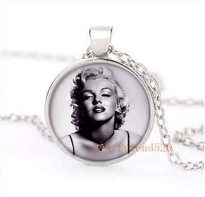 Marilyn monroe Suspenders Cabochon Glass Silver Necklace for woman Jewelry