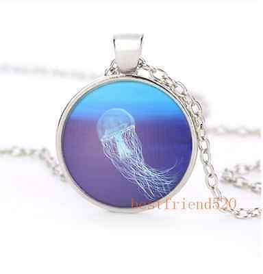 Underwater World Jellyfish Cabochon Glass Silver Plating Necklace Jewelry