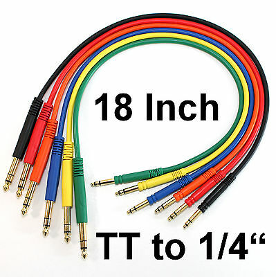 """6 Pack TT Bantam to 1/4 TRS Gold Patch Cables 18"""" Pro Quality Stereo Cords Leads"""