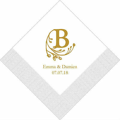 300 Modern Fairy Tale Initial Personalized Wedding Cocktail Napkins