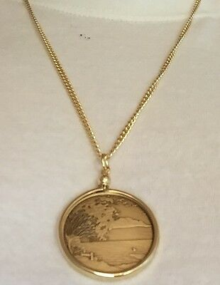 "AA Medallion Holder 24"" Necklace Serenity Peace Within The Storm Sobriety Chip"