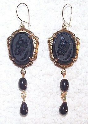 Vintage French Jet Black Cameo Glass Butterfly Drop Earrings Terrific Goth