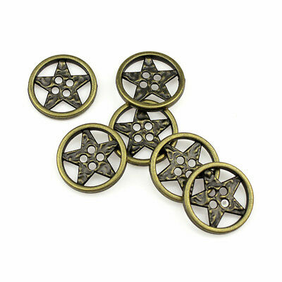 12PCS Bronze 4 Holes Five-pointed Star Round Metal Buttons Sewing Coat 21mm