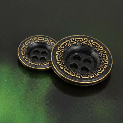 12PCS 4 Holes Bronze Flower Carving Round Metal Shank Buttons Sewing Coat15/21mm