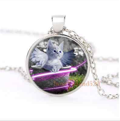 Cute Angel Cat Cabochon Glass Silver Plating Necklace Men Woman Jewelry