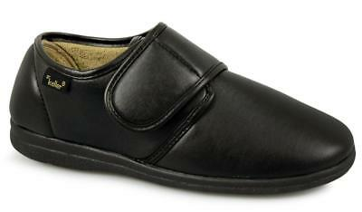 Dr Keller Mens Faux Leather Soft EXTRA Fit Cosy Touch Fasten Full Slippers Black