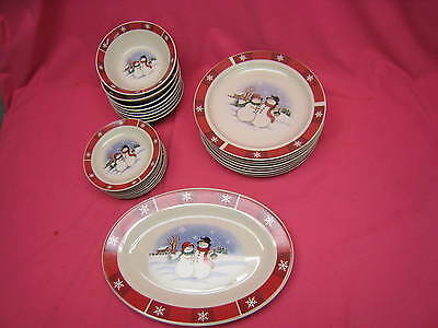 Christmas Bowls And Platters.Vintage Snowman Christmas 8 Dinner Plates 8 Dessert Plates 8 Bowls 2 Platters
