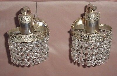 Old Gilt Brass Pair Wall Sconces Faceted Hanging Crystal Prisms Curtain Wired