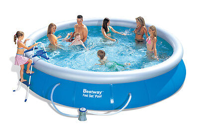 """Bestway 15' x 36"""" Fast Set Swimming Pool Set Inflatable Ring with Pump & More"""