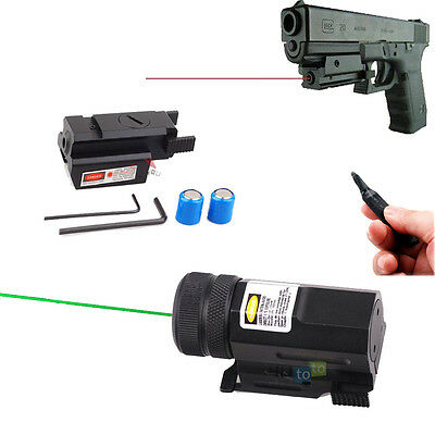 Mini Red Green Laser Sight Scope w/ Picatinny Rail Switch for Rifle Pistol