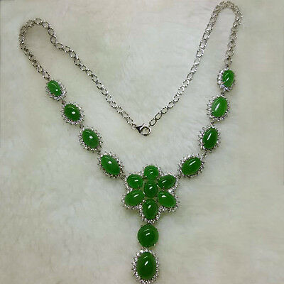 46.13CT 100% Natural Imperial Green Jadeite 18K White Gold Diamond Necklace FC04