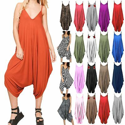0e01efb392a New Womens Ladies Cami Thin Strap Lagenlook Romper Baggy Harem Jumpsuit  Playsuit