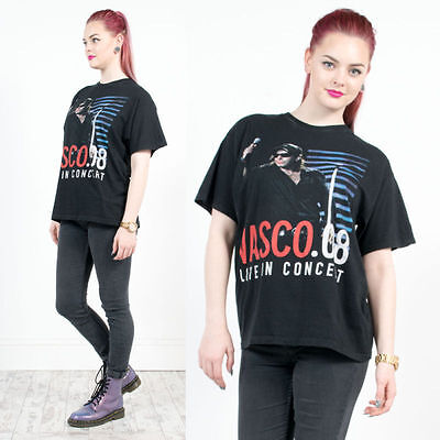 Womens Retro Vasco Rossi Rock Concert 08 Black Oversized T-Shirt 14