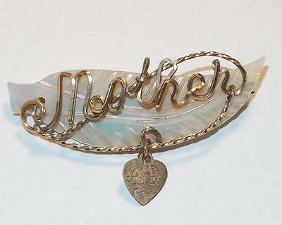 """Vintage Carved Mother Of Pearl Mop Wire Letters """"mother"""" Heart Charm Brooch Pin"""