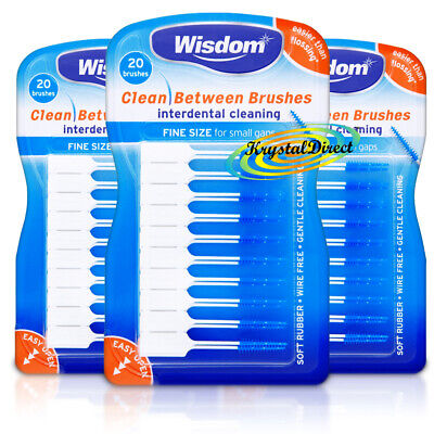 3x Wisdom BLUE Fine Clean Between SMALL Rubber 20 Interdental Plaque Brushes