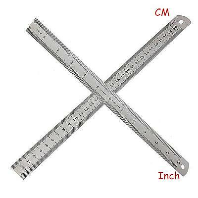 30cm 12Inch Stainless Steel Metal Ruler Precision Double Sided Measuring Tool