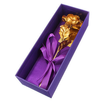 24K Dipped Gold Single Foil Rose Gift Birthday Valentine's Day Mother's Day +Box
